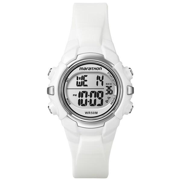Marathon by Timex Unisex Digital Mid-Size White Watch