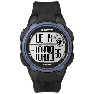 Timex T5K820M6 Men's Marathon Digital Full-size Black/ Blue Watch