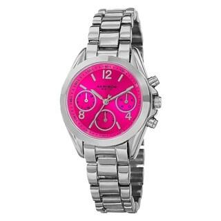 Akribos XXIV Women's Swiss Quartz Dual-Time Multifunction Silver-Tone Bracelet Watch