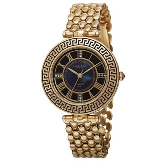 Akribos XXIV Women's Quartz Diamond Markers Unique Gold-Tone Bracelet Watch