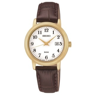 Seiko Women's SUR822 Gold Tone Stainless Steel and Brown Leather Watch