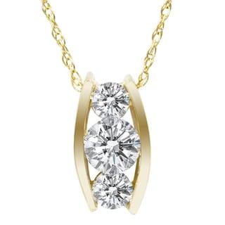 Bliss 14k Yellow Gold 1/2ct TDW 3-stone Diamond Necklace (I-J, I1-I2)