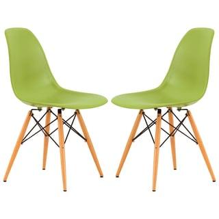 Somette Dover Green Plastic Molded Side Chair Wood Dowel Legs (Set of 2)