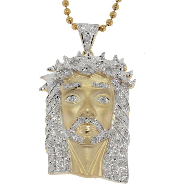 10k Yellow, White Gold .37ct TDW Diamond Jesus Pendant (G-H, I2-I3)