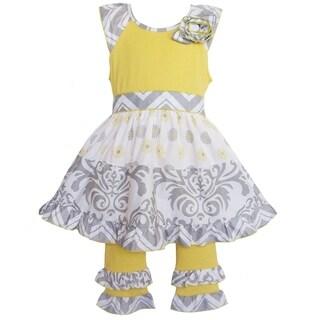 AnnLoren Boutique Girls' Grey Damask/ Dots 2-piece Dress Set