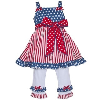 AnnLoren Girls' 4th of July Flag 2-piece Dress Set