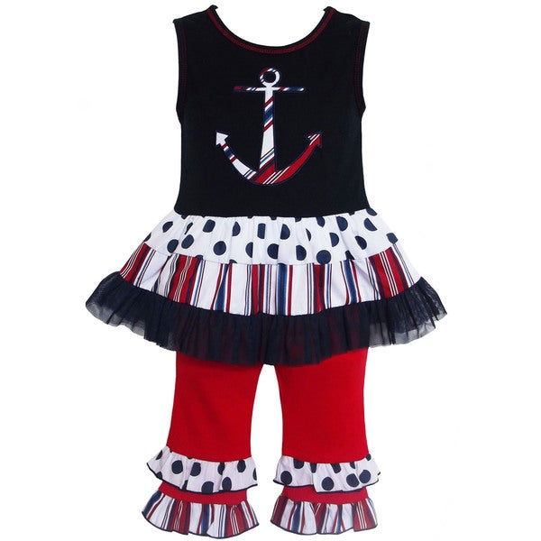 AnnLoren Girls' Anchor Tunic/ Capri Legging 2-piece Outfit