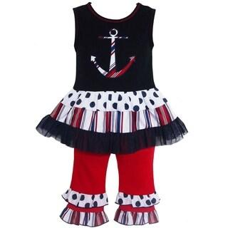 AnnLoren Girls' Anchor Tunic/ Capri Legging 2-piece Outfit