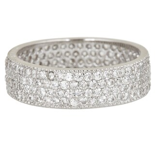 Sterling Silver Cubic Zirconia 4-strand Micro Pave Eternity Ring