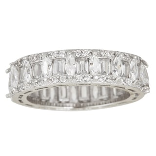 Sterling Silver Cubic Zirconia Marquise and Emerald Cut Micro Pave Eternity Ring