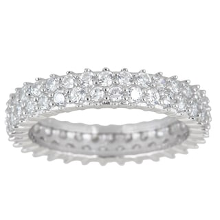 Sterling Silver Cubic Zirconia 2-strand Micro Pave Eternity Ring
