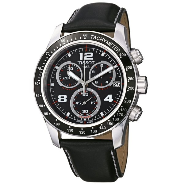 Tissot Men's T0394171605702 T-Sport V8 Round Black leather Strap Watch