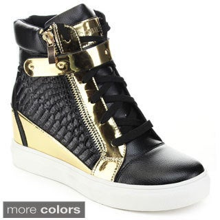 JACOBIES BEVERLY HILLS 'VANESS-7' Women's Zippers Concealed Wedge Sneakers