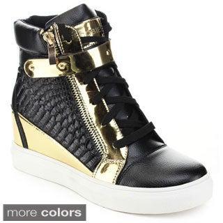 Jacobies Women's Vaness-7-Ja Metallic Accent Wedge Sneakers