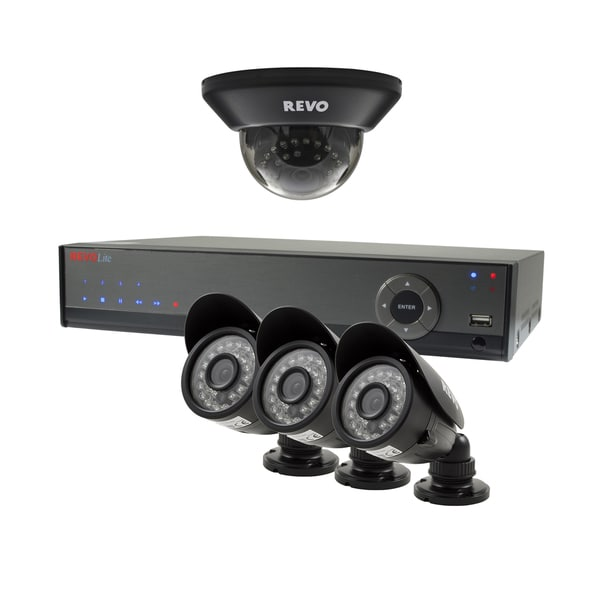 Revo Lite 4-channel 500GB 960H DVR Surveillance System with 1 Dome and 3 Bullet 700TVL Cameras