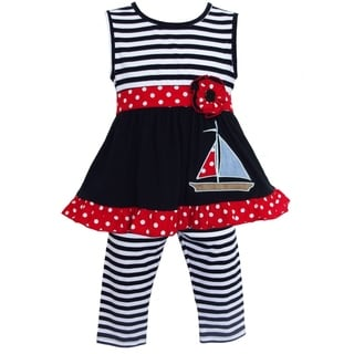 AnnLoren Girls' Sailboat Striped 2-piece Dress Outfit