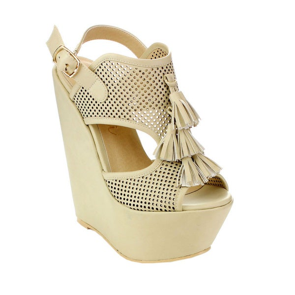 Machi Women's CL-Zaipho-1 Tassel Peep-toe Wedges
