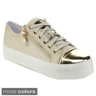 JACOBIES BEVERLY HILLS 'VANESS-10' Women's Two Side-zippers Platform Sneakers