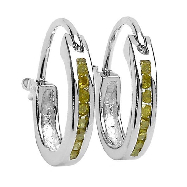 Sterling Silver .14ct TDW Yellow Diamond Hoop Earrings (Yellow, I2-I3)