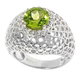Sterling Silver 2.45ct TGW Peridot and White Topaz Cut-out Dome Ring