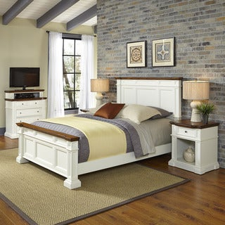 Home Styles Americana White and Oak Bed, Two Night Stands, and Media Chest