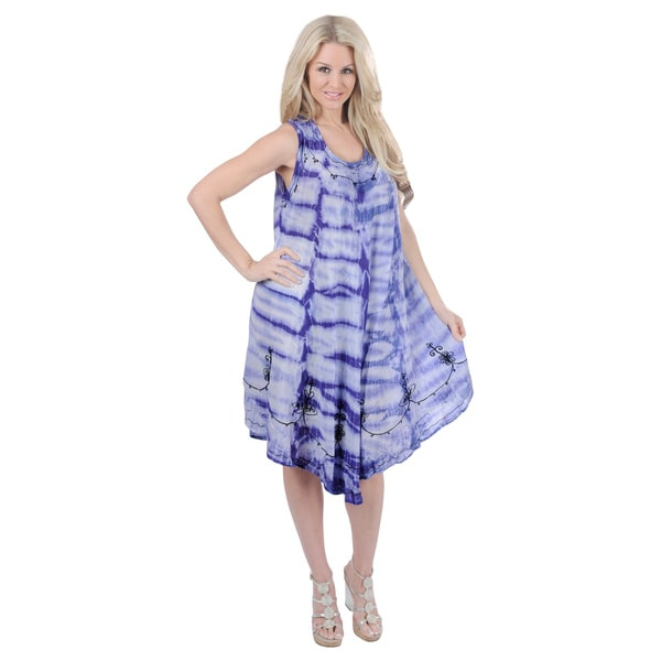 La Leela Purple Tie-dye Embroidered Beach Dress (One Size)
