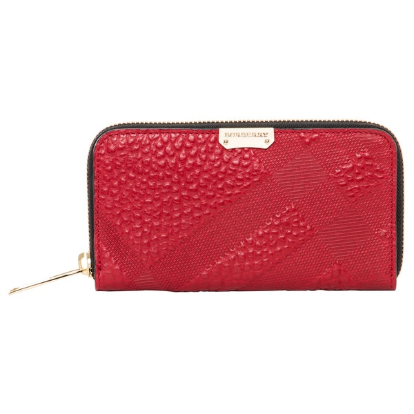 Burberry Red Grain Check Elmore Zip-around Wallet
