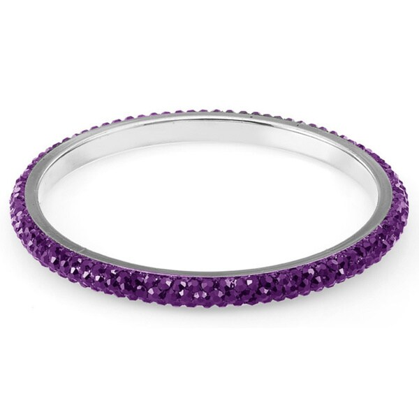 Sterling Silver Plated Dark Purple Crystals Bangle
