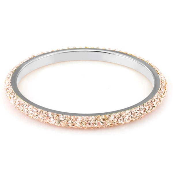 Sterling Silver Plated Peach Crystals Bangle