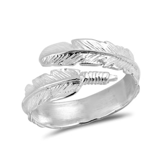 Nature's Embrace Feather Wrap .925 Sterling Silver Ring (Thailand)