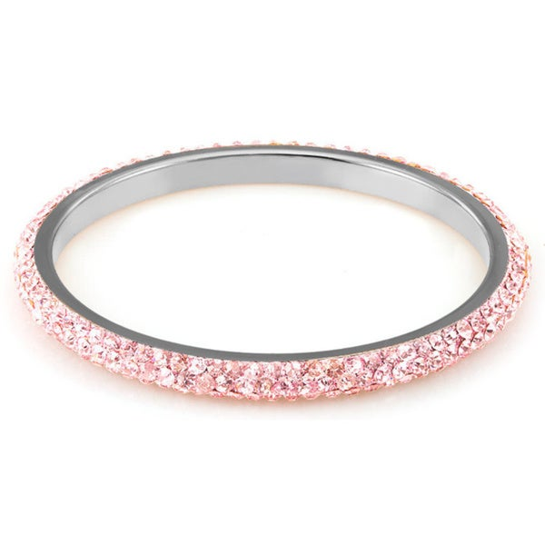 Sterling Silver Plated Light PInk Crystals Bangle