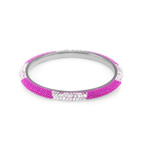 Sterling Silverplated Fuchsia Bead Clear Crystal Bangle