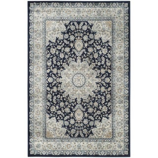 Safavieh Persian Garden Navy/ Light Blue Viscose Rug (4' x 5'7)