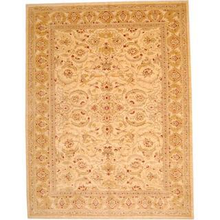 Herat Oriental Afghan Hand-knotted Vegetable Dye Ziegler Ivory/ Beige Wool Rug (10' x 12'10)