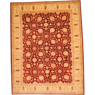 Herat Oriental Afghan Hand-knotted Vegetable Dye Oushak Burgundy/ Beige Wool Rug (10' x 12'8)