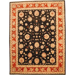 Herat Oriental Afghan Hand-knotted Vegetable Dye Oushak Black/ Burgundy Wool Rug (10' x 13')