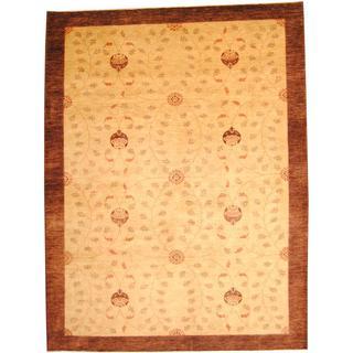 Herat Oriental Afghan Hand-knotted Vegetable Dye Ziegler Beige/ Brown Wool Rug (10'2 x 13'4)