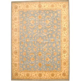 Herat Oriental Afghan Hand-knotted Vegetable Dye Oushak Light Blue/ Beige Wool Rug (10' x 13'7)