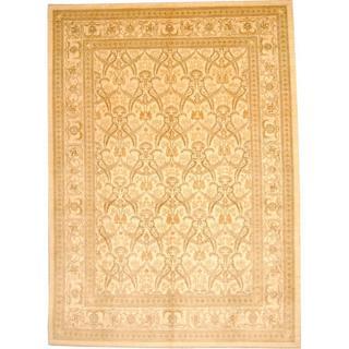 Herat Oriental Afghan Hand-knotted Vegetable Dye Ziegler Ivory/ Light Green Wool Rug (10' x 14')