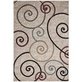 Machine-made Regal Collection Contemporary Scrolls Design Polypropylene Area Rug (5'3x7'7)