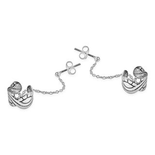 Celtic Wave Cuff Chain Sterling Silver Post Earrings (Thailand)