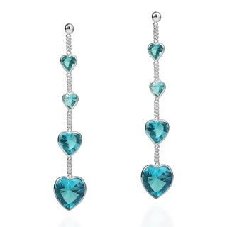 Tiered Heart Link Cubic Zirconia .925 Silver Earrings (Thailand)