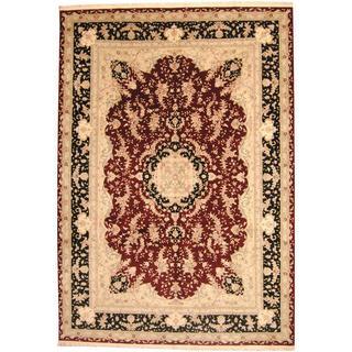 Herat Oriental Indo Hand-knotted Wool/Silk Tabriz Burgundy/ Black Wool Rug (10' x 14')