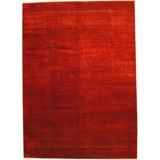 Herat Oriental Indo Hand-knotted Vegetable Dye Gabbeh Red/ Ivory Wool Rug (9'4 x 13')