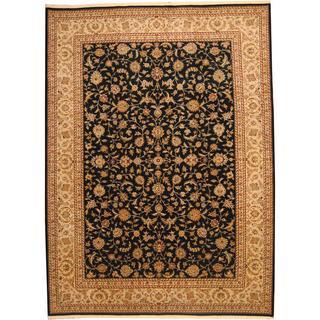 Herat Oriental Indo Hand-knotted Wool/Silk Tabriz Navy/ Beige Wool Rug (10' x 14')
