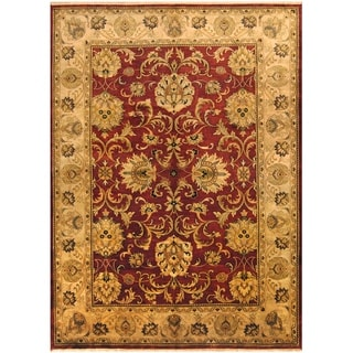 Herat Oriental Indo Hand-knotted Vegetable Dye Oushak Burgundy/ Light Green Wool Rug (10' x 14')