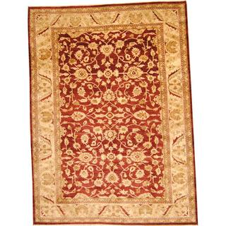 Herat Oriental Afghan Hand-knotted Vegetable Dye Ziegler Burgundy/ Beige Wool Rug (9'8 x 13'3)