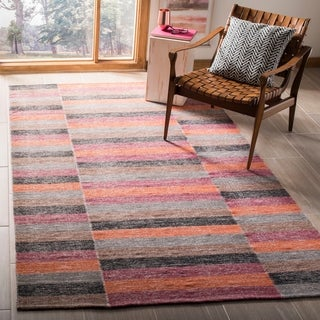 Safavieh Hand-Woven Striped Kilim Blue Wool Rug (8' x 10')