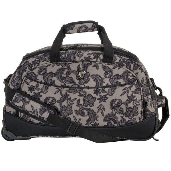 CalPak 'Plato' Floral Black Lace 21-inch Carry On Rolling Upright Duffel Bag