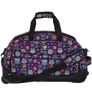 CalPak 'Plato' Purple Owl 21-inch Carry On Rolling Upright Duffel Bag